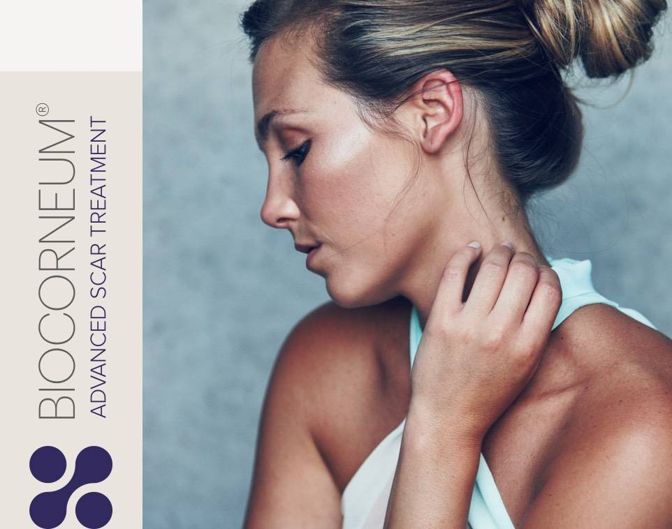 Biocorneum Advanced Scar Treatment logo and woman in profile
