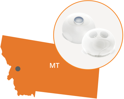 Image of breast expander over map of manufacturing location in Montana.