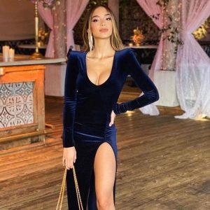 woman in velvet dress