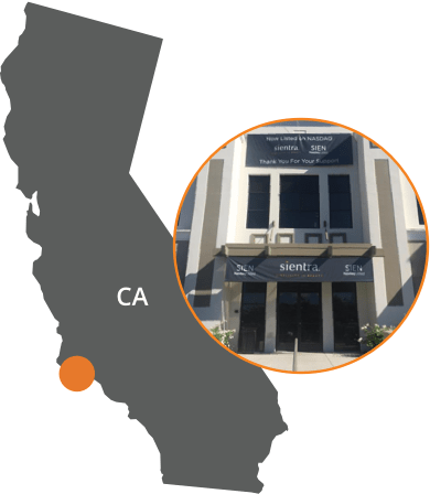 map of California with overlay image of sientra headquarter building